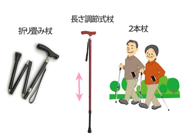 折りたたみ杖、長さ調節式杖、2本杖。どれを選びますか?